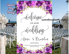 floral purple wedding welcome sign floral lilac wedding reception ...