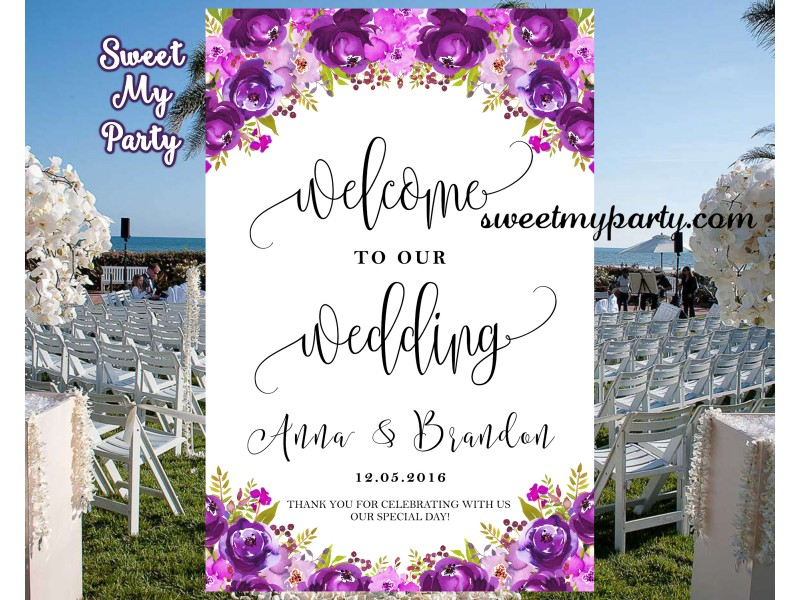 floral purple wedding welcome sign|floral lilac wedding reception ...