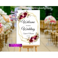 Geometric Wedding Welcome Sign,Burgundy Wedding Welcome sign,(116w)