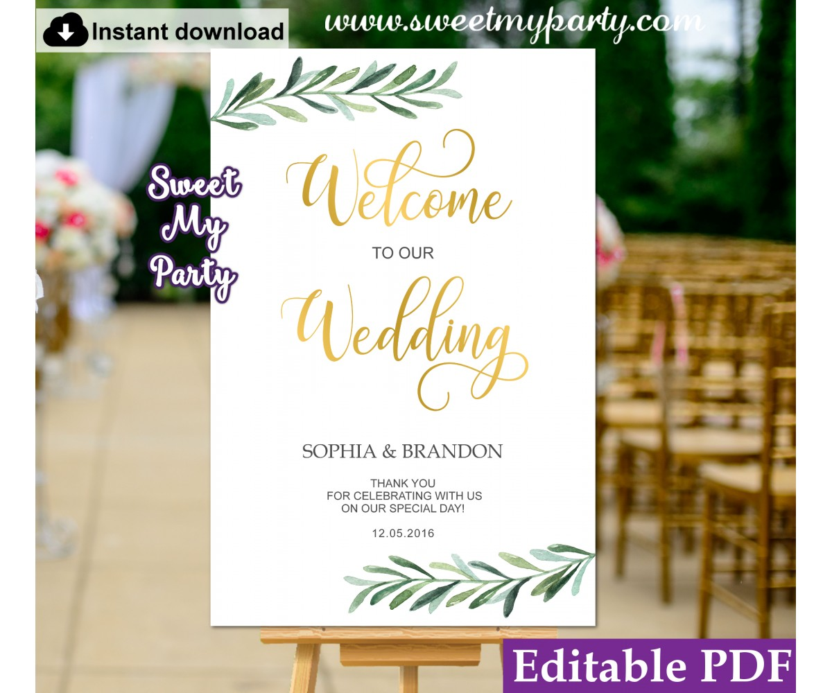 image relating to Welcome Sign Template named Greenery welcome indicator template,Greenery marriage ceremony welcome indication template, (78)