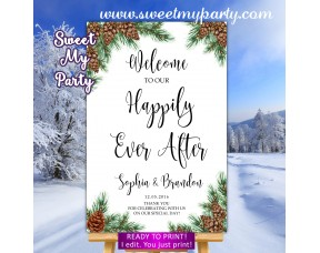 Pine cone Hapily Ever After Sign,Winter Happily Ever After sign,(119w)