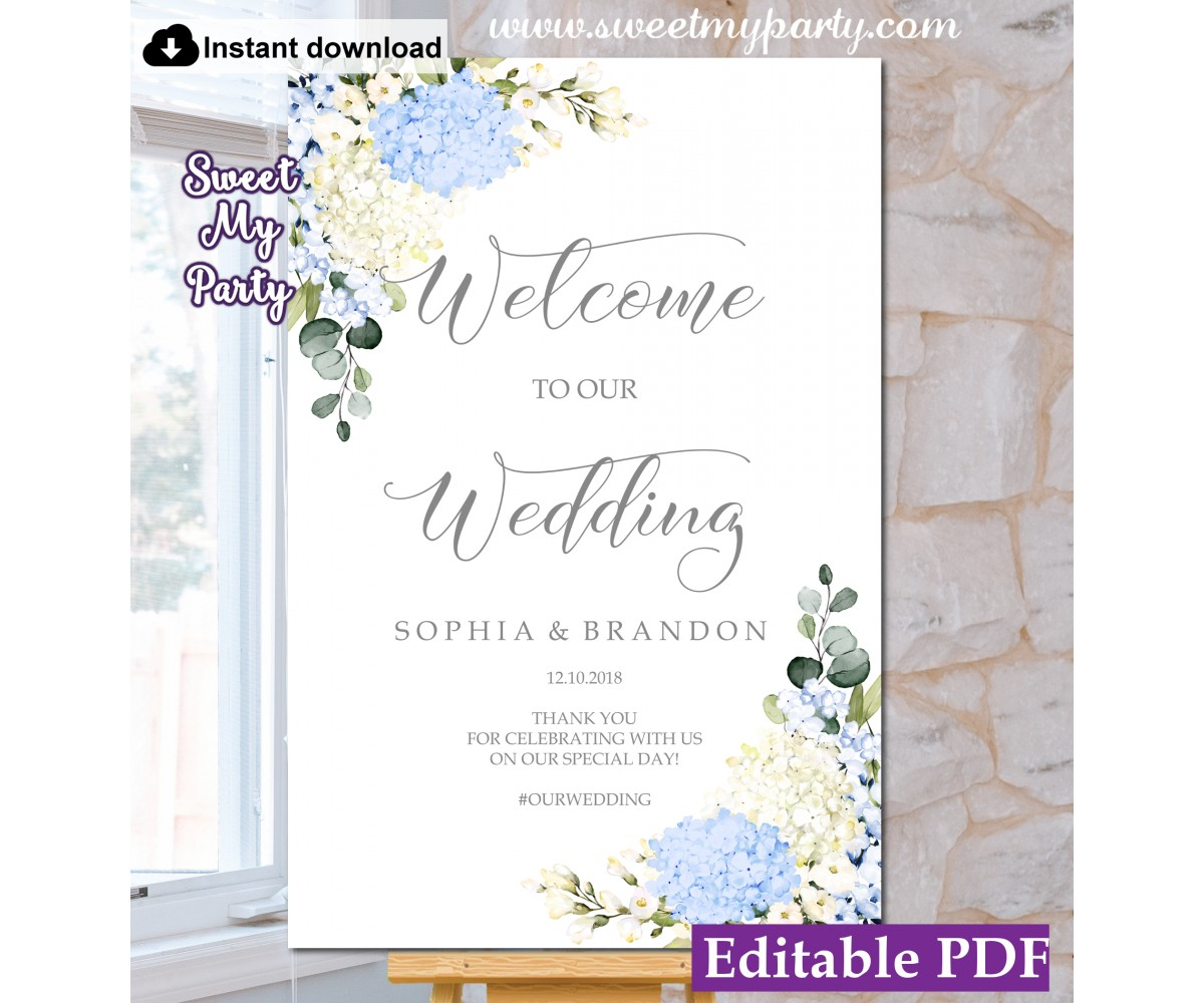 Blue Ivory Hydrangea welcome sign template,wedding welcome sign,(139)