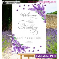 Lvender welcome sign template,lavender wedding welcome sign template, (131)