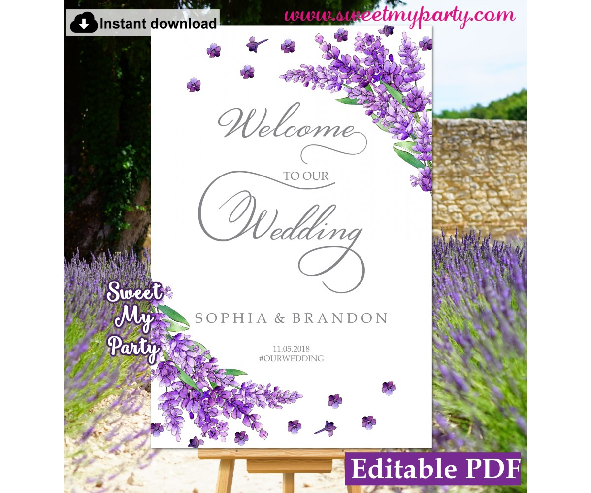 image about Welcome Sign Template referred to as Lavender welcome indication template,lavender marriage ceremony welcome signal template, (131)