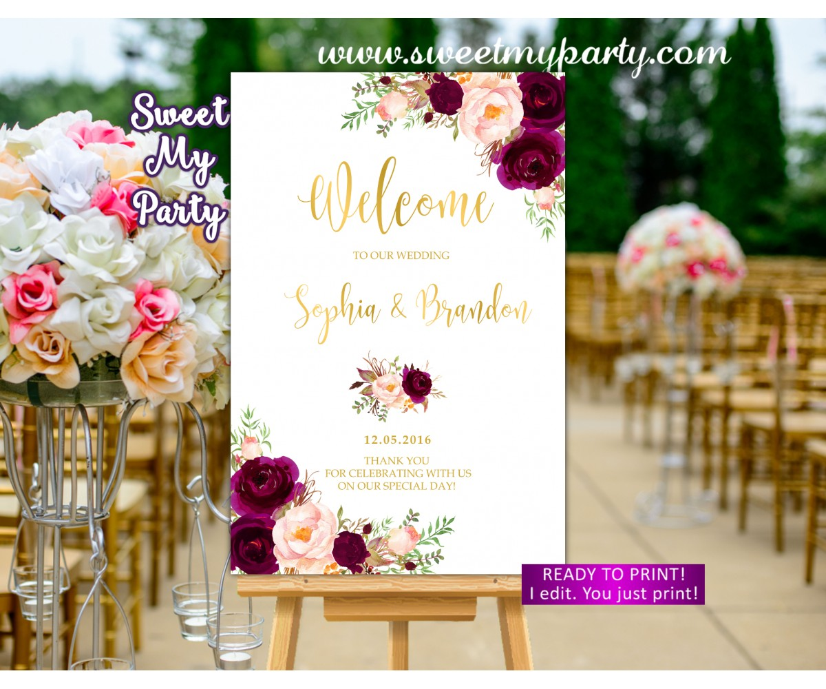 Burgundy Wedding Welcome Sign,Marsala Wedding Welcome sign,(20w)