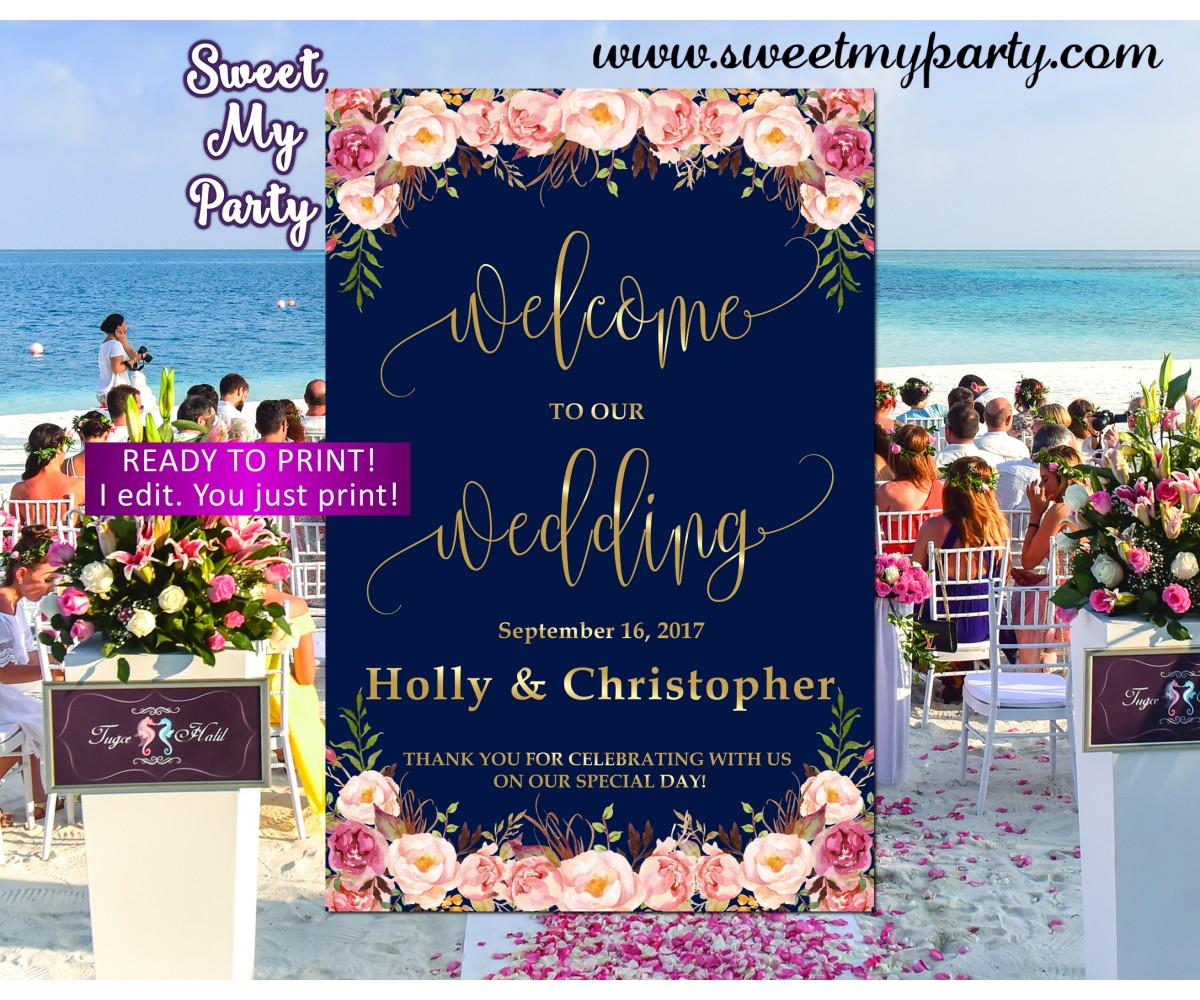 Floral Wedding Welcome Sign,Floral Navy Wedding Welcome sign,(055w)