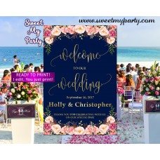 Floral Wedding Welcome Sign,Floral Navy Bridal Shower Welcome sign,(055w)