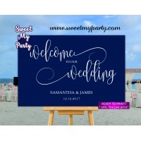 Navy Welcome Sign,Navy blue Wedding Welcome sign,(66w)