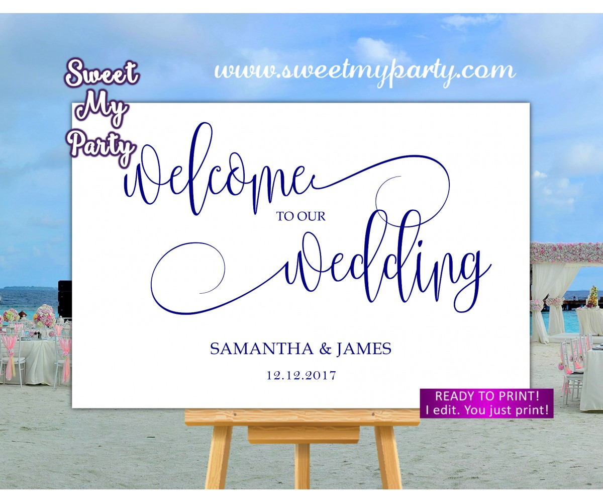 Navy Welcome Sign,Navy blue Wedding Welcome sign,(67w)