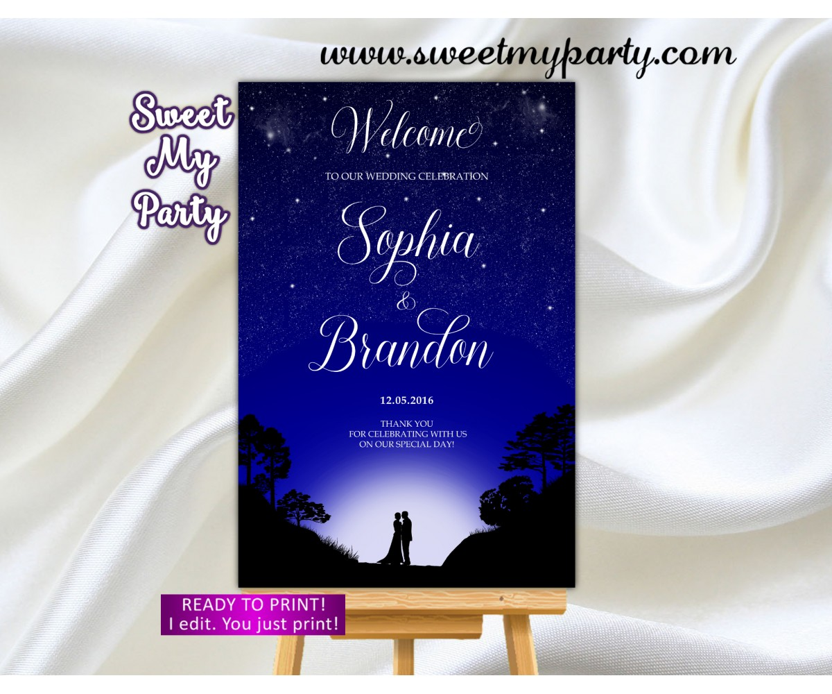 Under the Stars Wedding Welcome Sign,Galaxy Wedding Welcome sign,(97w)