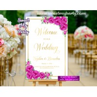 Pink Welcome Sign,Gold Wedding Welcome sign,(117ww)