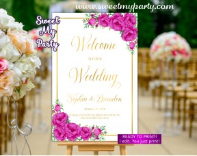 Pink Welcome Sign,Gold Wedding Welcome sign,(117w)