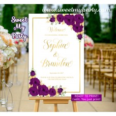 Plum Wedding Welcome Sign,Plum and Gold Wedding Welcome sign,(109w)