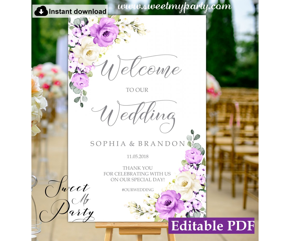 Purple Ivory welcome sign template,Floral welcome sign template, (144)