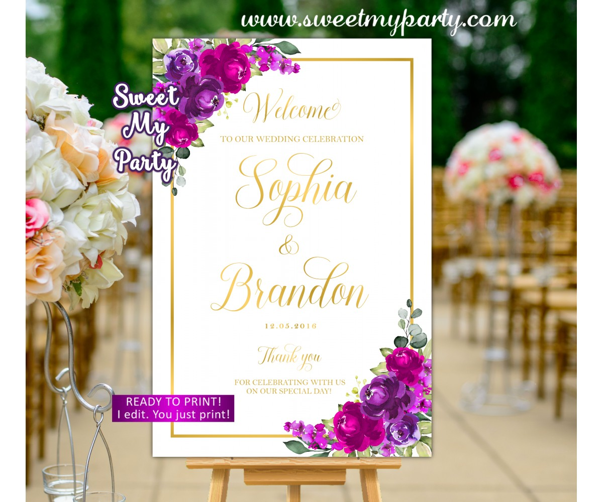 Purple Fuchsia Wedding Welcome Sign,Purple Fuchsia Welcome sign,(127w)