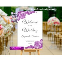 Purple Welcome Sign,Violet Welcome sign with lace,(115w)