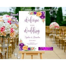 Lilac Orange Wedding Welcome Sign,Purple orange Wedding Welcome sign,(104w)