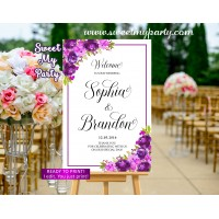 Purple Wedding Welcome Sign,Violet Wedding Welcome sign,(33cw)