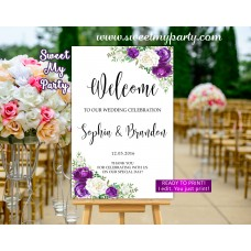 Purple white Wedding Welcome Sign,Lilac Wedding Welcome sign,(164 w)
