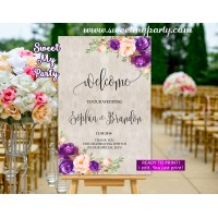 Purple Welcome Sign,Violet Wedding Welcome sign,(64w)