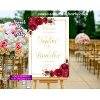 Red roses Wedding Welcome Sign,Gold Wedding Welcome sign,(16w)
