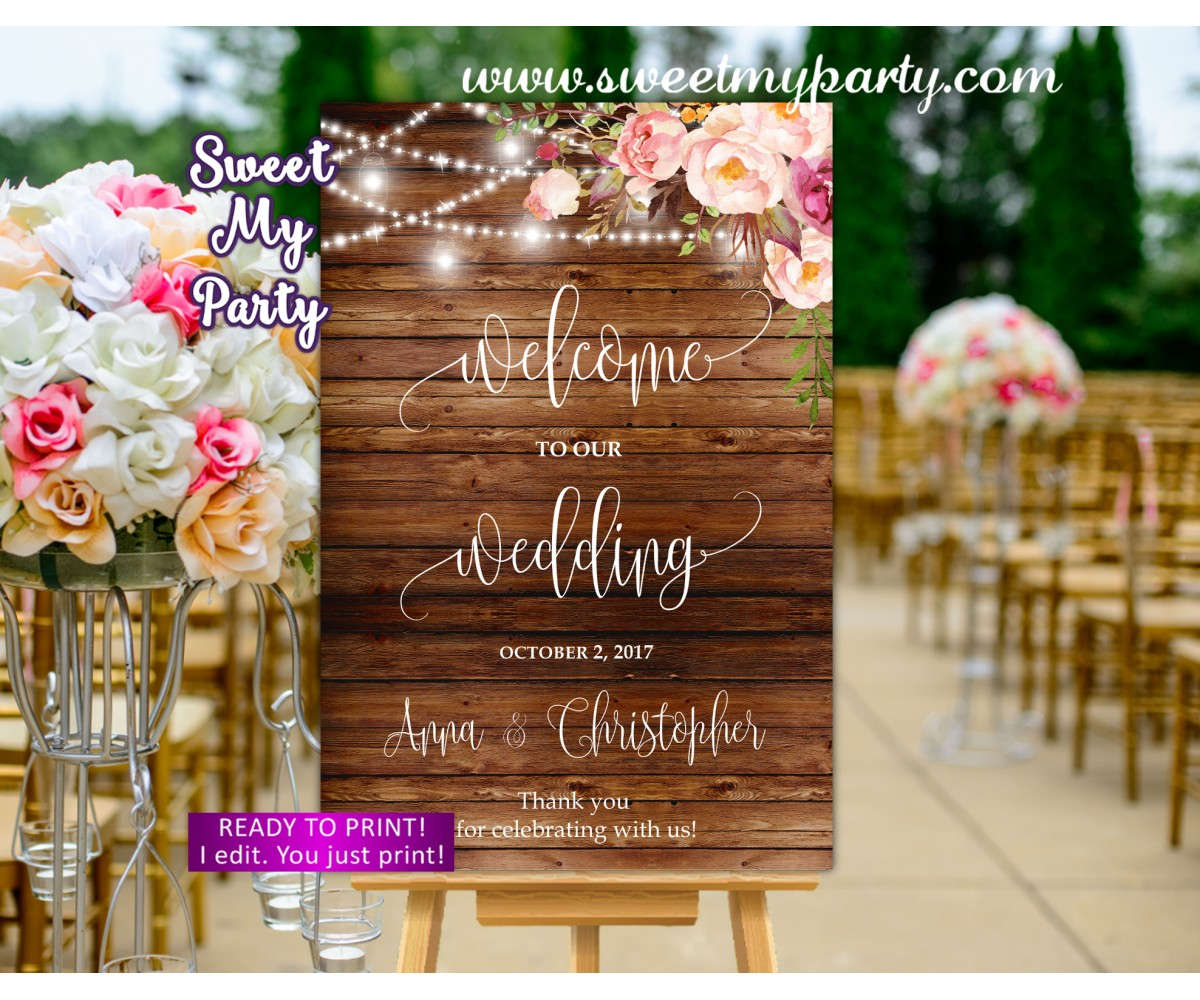 Rustic Wedding Welcome Sign,Mason Jar Wedding Welcome sign,(100 w)