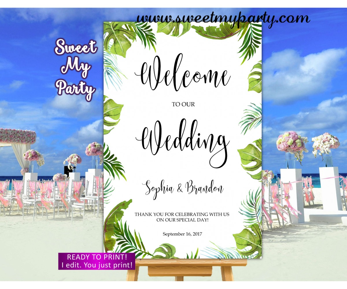 Tropical Wedding Welcome Sign,Greenery Wedding Welcome sign,(113w)