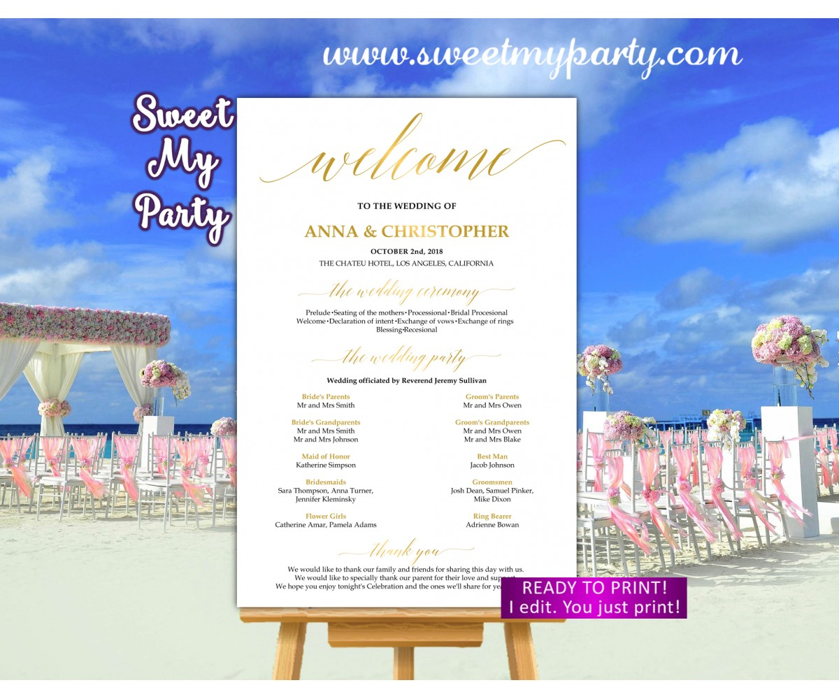 Gold Wedding Welcome Sign with program,Calligraphy Wedding welcome sign,(027w)
