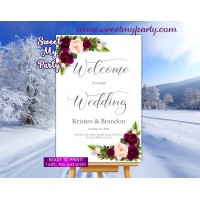 Winter Wedding Welcome Sign,Pine Cone Wedding Welcome sign,(118w)
