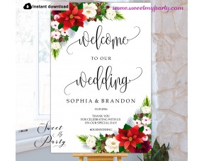 Winter Wedding welcome sign template,Poinsettia Wedding welcome sign,(154)