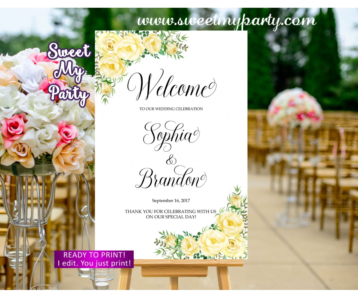 Yellow flowers Welcome Sign,Yellow Roses Welcome sign,(110w)