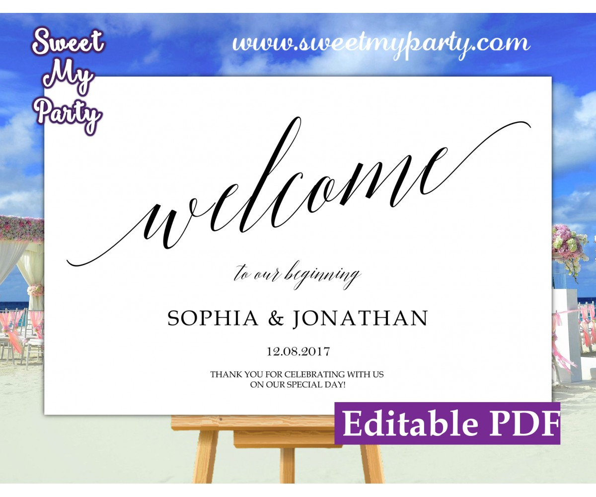 Calligraphy welcome sign template,wedding welcome sign,(27ab)