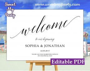 Calligraphy welcome sign template,Calligraphy wedding welcome sign template, (27ab)