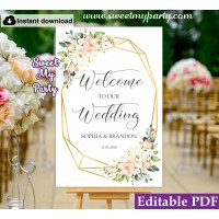 Geometric welcome sign template, Floral welcome sign template, (128)