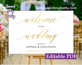 Gold Calligraphy welcome sign template,Gold Calligraphy wedding welcome sign template, (27)
