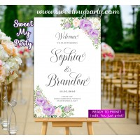 Lavender Wedding Welcome Sign,Lilac Wedding Welcome sign,(106w)