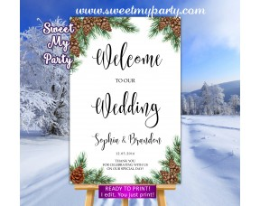 Pine cone Wedding Welcome Sign,Winter Wedding Welcome sign,(119w)