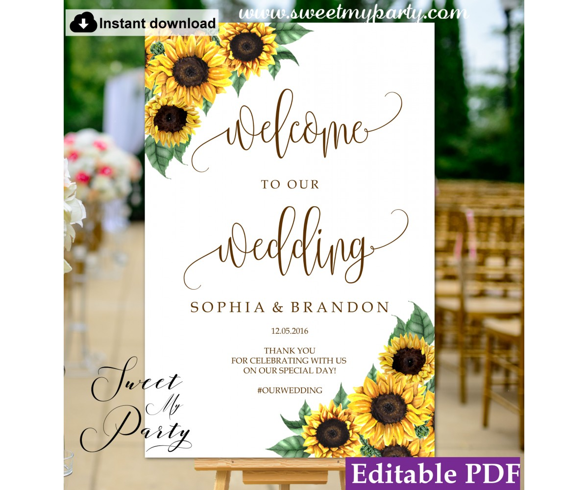 picture relating to Welcome Sign Templates identified as Sunflowers welcome indicator template,marriage ceremony welcome indicator,(143)