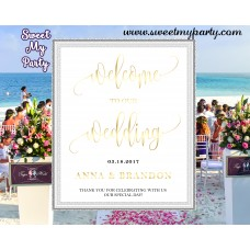Wedding Welcome Sign,Wedding gold Welcome sign,(025w)