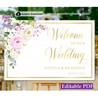 Cream pink welcome sign template,Ivory pink wedding welcome sign template, (135a)