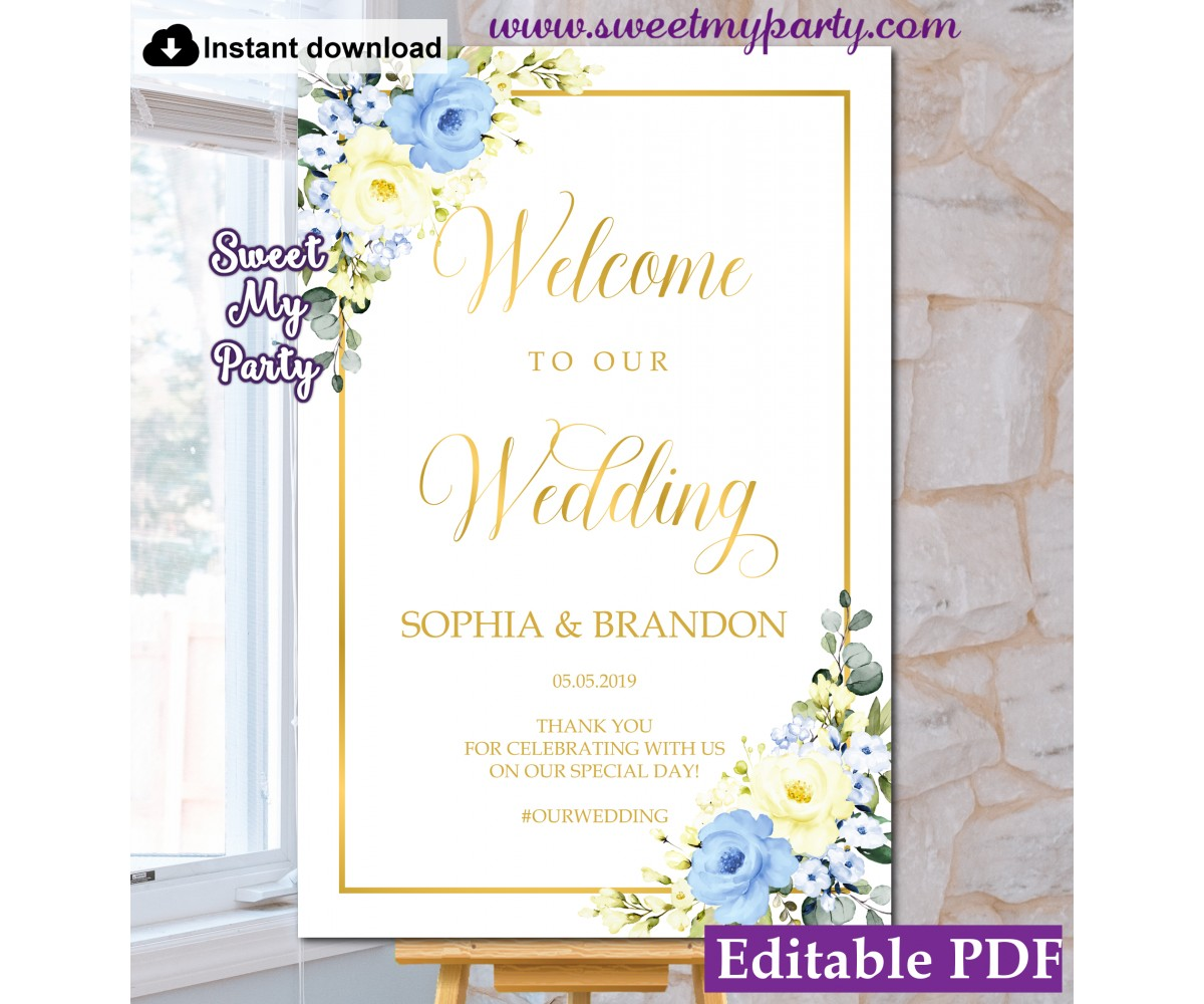 Yellow Blue Welcome sign template,Yello Blue Wedding Welcome sign template, (132)