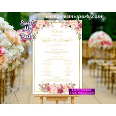 Blush Wedding Program Sign,Gold Wedding Welcome sign with program,(31gw)