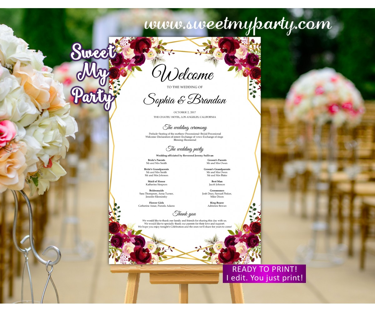 Geometric Wedding Program Sign,Burgundy Welcome sign with program,(116w)