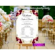 Geometric Wedding Program Sign,Burgndy Welcome sign with program,(116w)