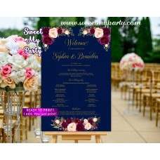 Burgundy Welcome Sign with program,Navy Wedding poster,(84w)