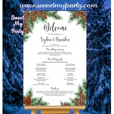 Pine Cone Wedding Program Sign,Winter Wedding Welcome sign with program,(119w)