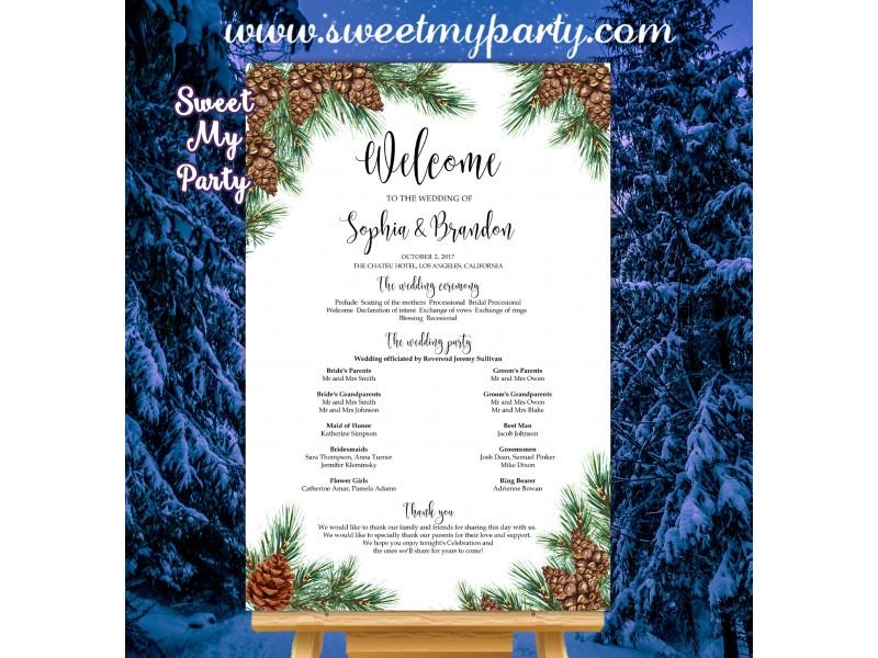 pine cone wedding program sign pinecone wedding program sign