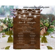Rustic Wedding Welcome sign with program,Mason Jar wood Welcome sign with program,(030w)