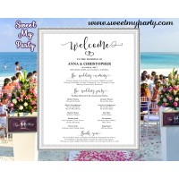 Rustic Wedding Welcome Sign with program,Modern Wedding Welcome sign with program,(023w)