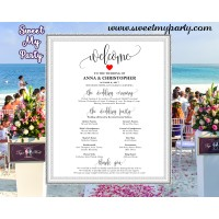 Rustic Wedding Welcome Sign with program,Modern Wedding Welcome sign with program,(024w)